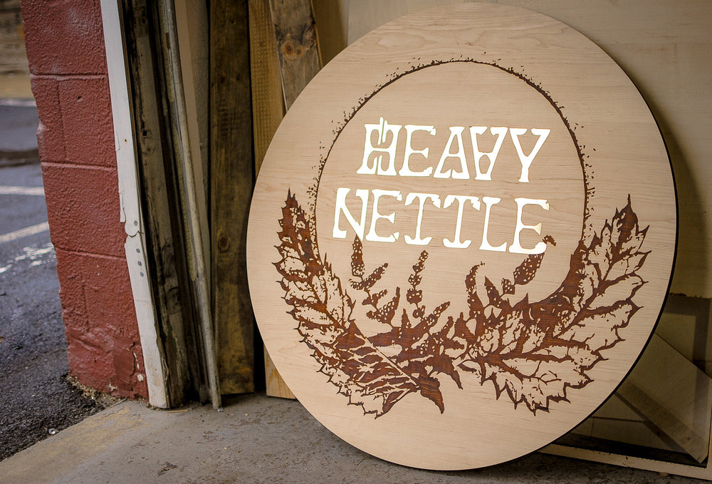 laser engraved maple and brass sign for heavy nettle