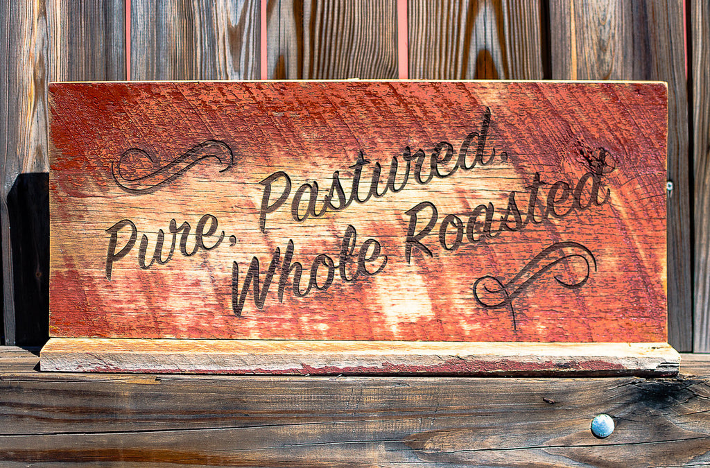 Reclaimed wood farmers market signs (1 of 12). Laser engraved for Marriott.