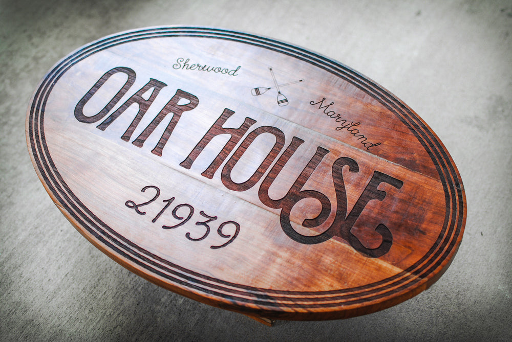 laser engraved reclaimed cherry house sign