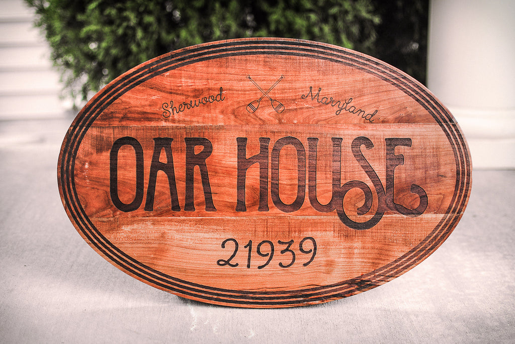 Reclaimed wood house numbers sign from reclaimed cherry