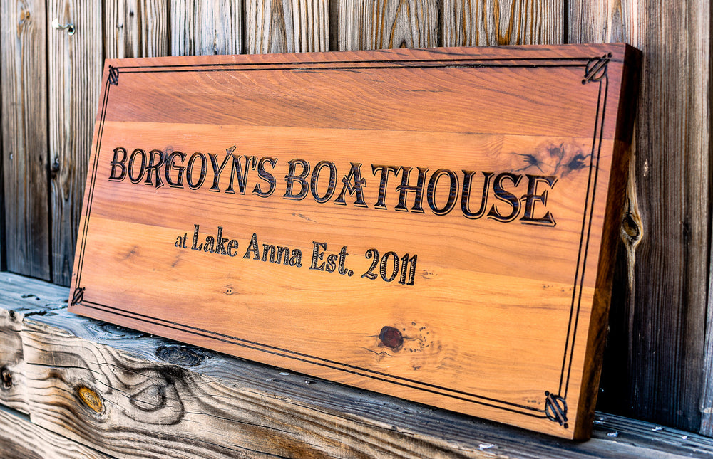 laser engraved reclaimed redwood house sign