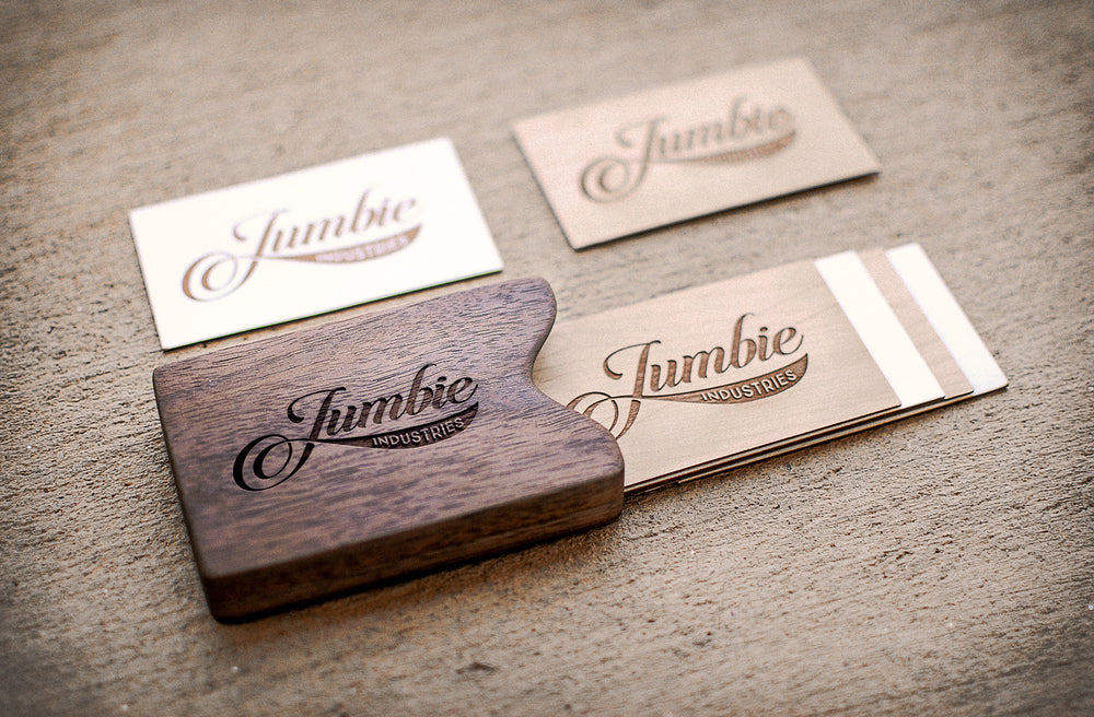 laser engraved wooden business cards and walnut business card holder