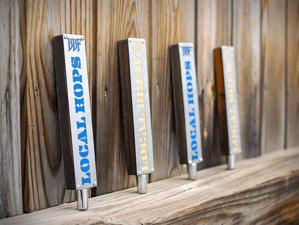 steel and maple custom wood tap handles for brookville beer farm