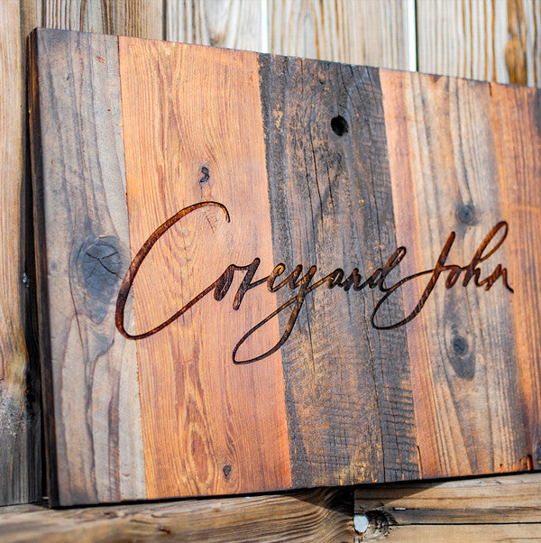 laser engraved reclaimed redwood sign for wedding
