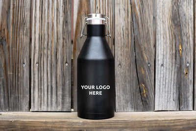 Black Stainless Steel Insulated Growler, 64 oz, Customizable
