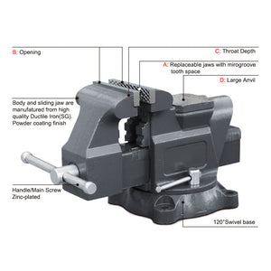 "KAKA Industrial AVS-125 5"" American Type Bench Vise (Swivel With Anvil)"