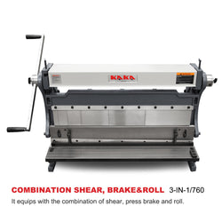 KAKA Industrial 3-In-1/30 30-Inch Sheet Metal Brake, Shear and Slip Roll Machine