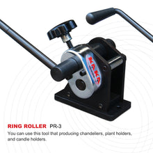 "Load image into Gallery viewer, KAKA Industrial PR-3 Manual Plate Steel Ring Roll Bender, 3"" Diameter Portable Hand Crank"