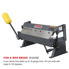 Load image into Gallery viewer, KAKA Industrial W-2416Z 24-Inch Sheet Metal Brake, Solid Construction, High Precision Pan and box Brake