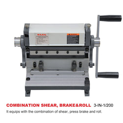 KAKA Industrial 3-In-1/8 8-Inch  Combination Sheet Metal Brake Shear and Roll, Pan & box brake