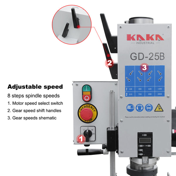 KAKA Indsutrial GD-25B Heavy Duty Gear Head Vertical Bench Drilling