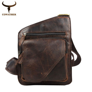 COWATHER 2017 top cow genuine leather versatile casual shoulder men messenger bags for men solid and zipper