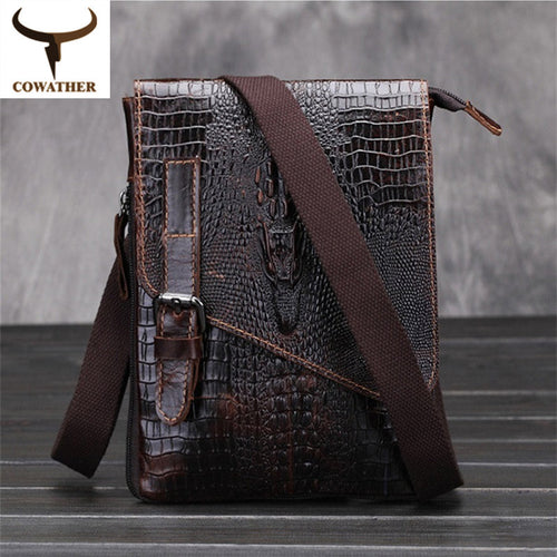 Alligator-Pattern Genuine Leather Messenger Bag