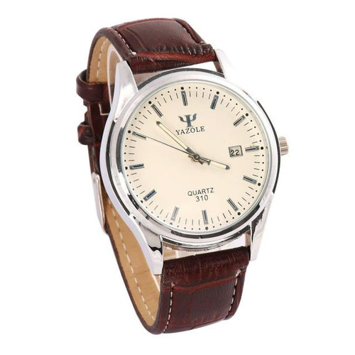 Mens Ray Glass Leather Quartz Analogsiness Style Wrist Watch Watches