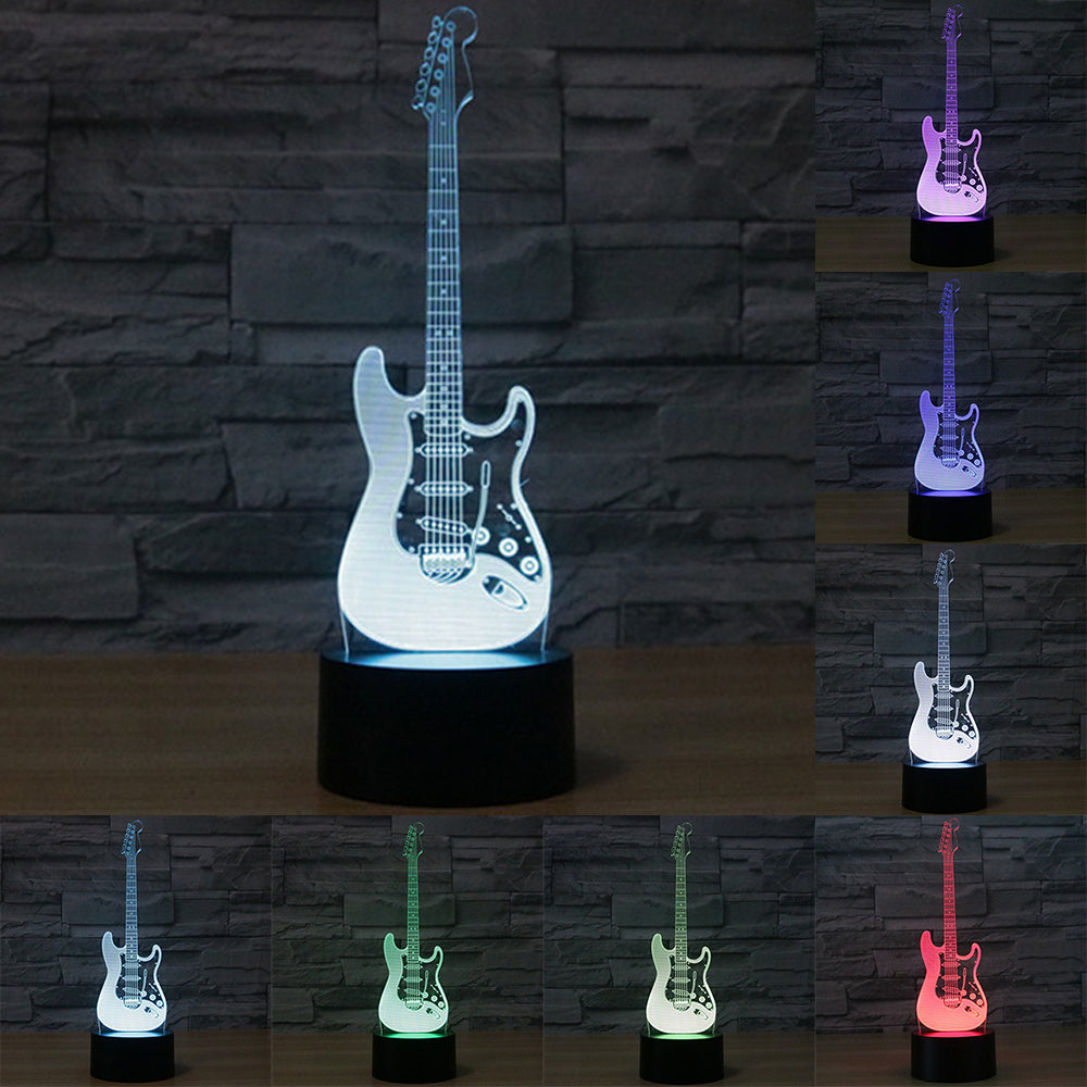 3D LED Electric Guitar Night Lamp - Color Changing - 7 Colors ...
