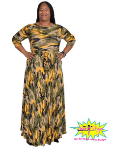 TNT Green & Yellow Army Maxi Dress