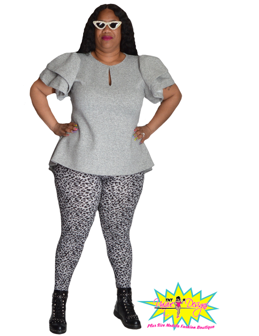 TNT GRAY & BLACK CHEETAH LEGGINGS