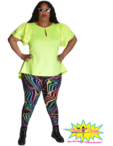TNT NEON YELLOW HIGH LOW RUFFLE TOP