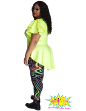 Load image into Gallery viewer, TNT NEON YELLOW HIGH LOW RUFFLE TOP