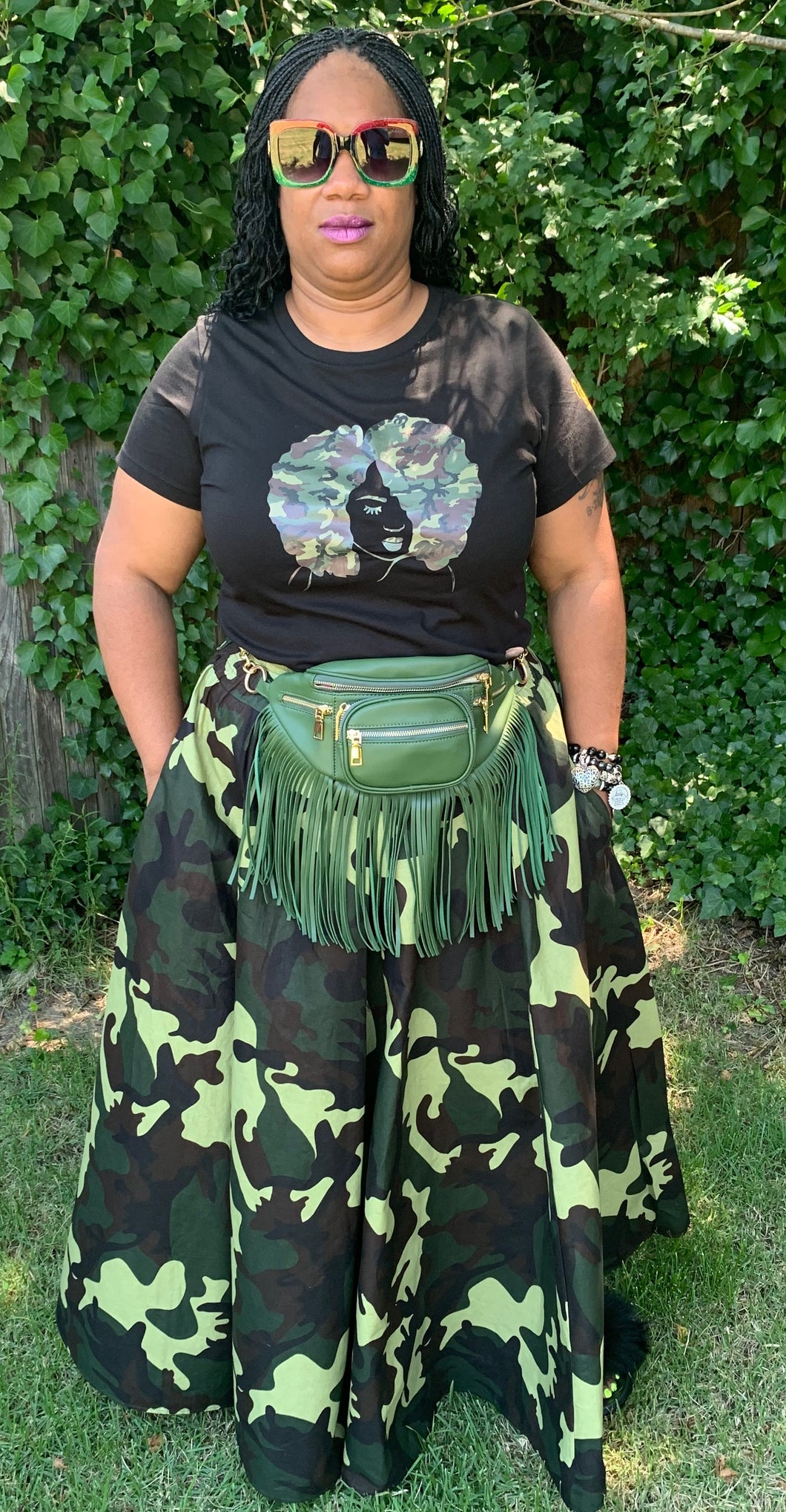 TNT GREEN PRINT SKIRT