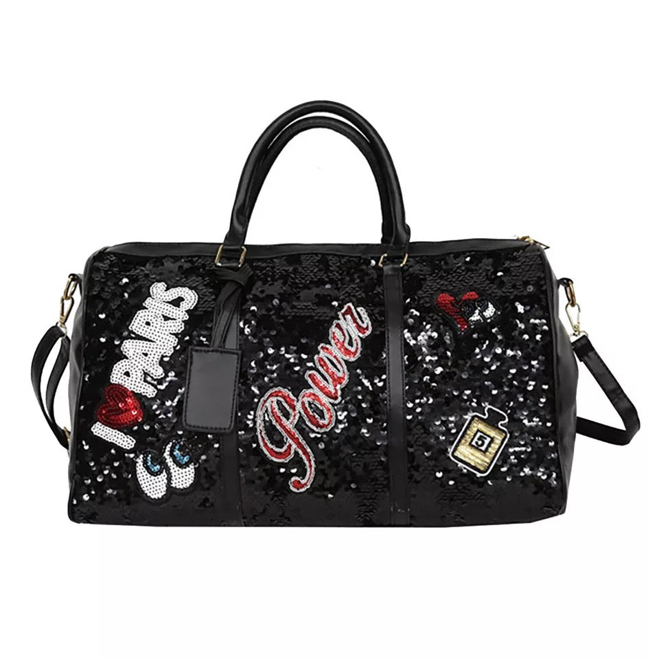 TNT BLACK SEQUINS PATCH DUFFLE BAG