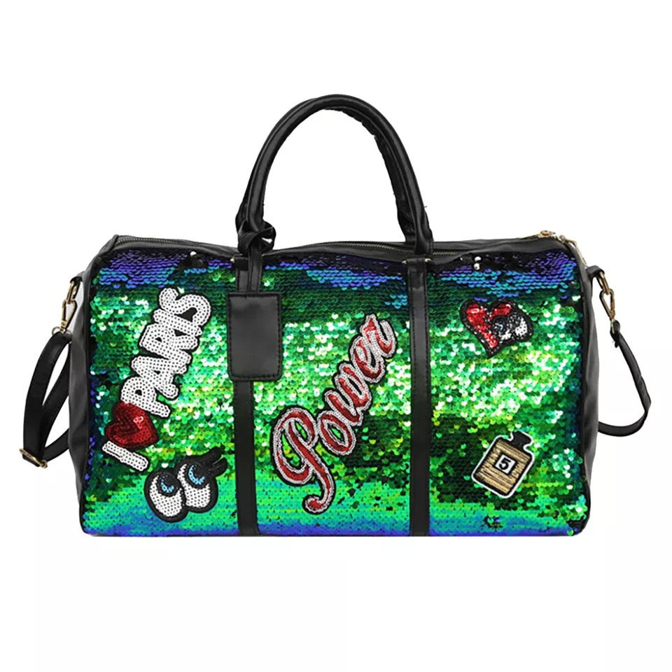 TNT GREEN SEQUINS PATCH DUFFLE BAG