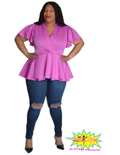 Load image into Gallery viewer, TNT LILAC PEPLUM TOP