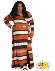 TNT BROWN & TAN MAXI WRAP DRESS