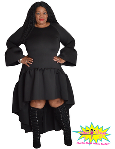 TNT BLACK HIGH LOW RUFFLE DRESS