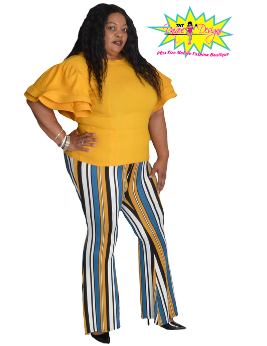 TNT MUSTARD BOLD WIDE LED PRINT PANTS