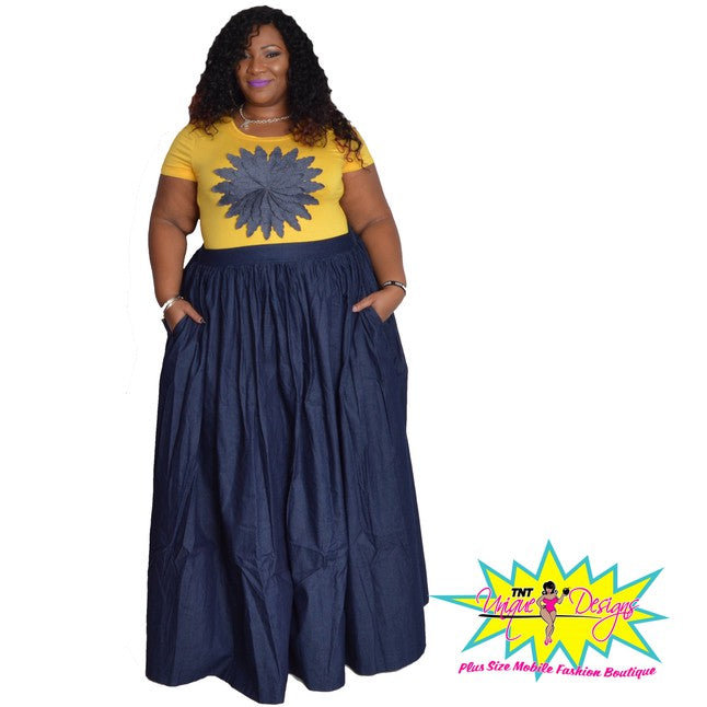 TNT LONG DARK DENIM SKIRT