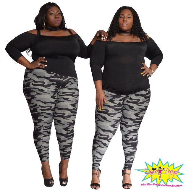 TNT BLACK & GRAY ARMY PRINT LEGGINGS