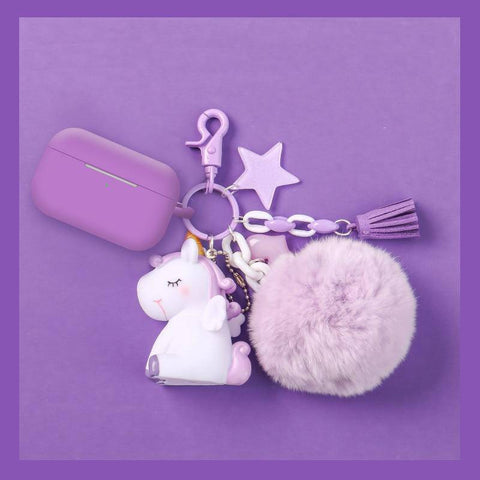 Star Unicorn AirPods Silicone Case Cover with Keychain