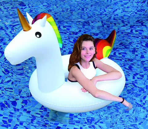 Child on Inflatable Unicorn Tube Ring (SM)