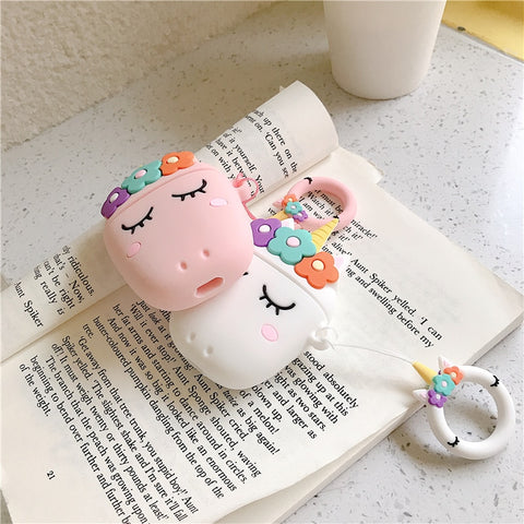 3D Floral Unicorn AirPods Silicone Case Cover with  Stitch Ring