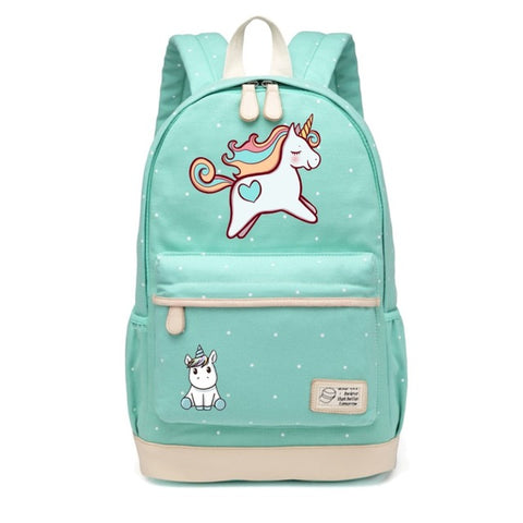 Leaping Unicorn Canvas Backpack