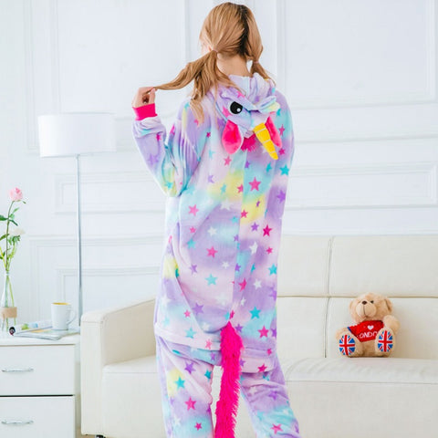 Back of Purple Rainbow Unicorn Pajamas