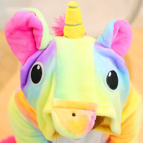 Yellow Rainbow Unicorn Costume Hoodie