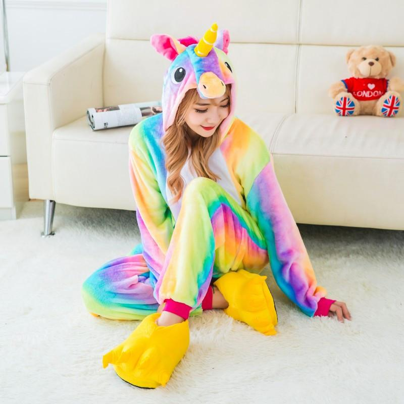 Adult Rainbow Unicorn Onesie Costume / Pajamas