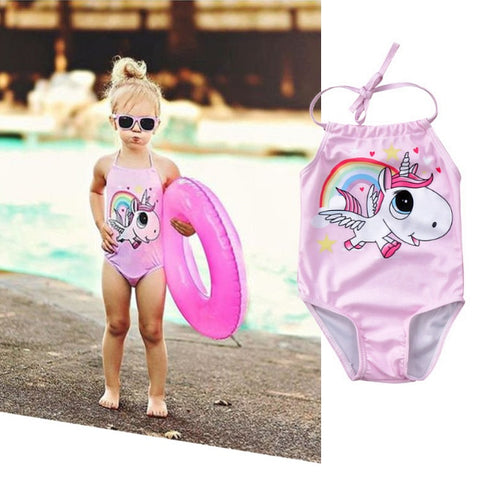 Girls Cute Rainbow Unicorn Baby Swimsuit