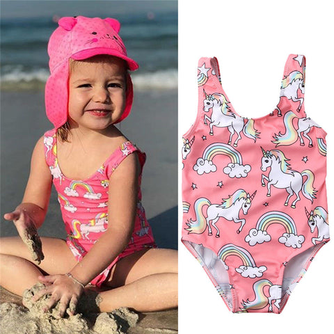 Pink Rainbow Unicorn Baby Swimsuit