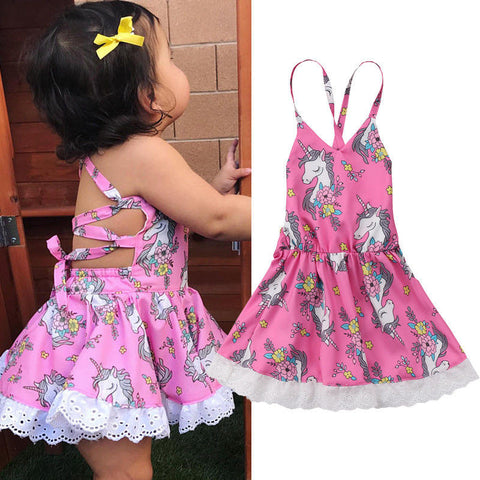 Girls Pink Baby Unicorn Party Dress