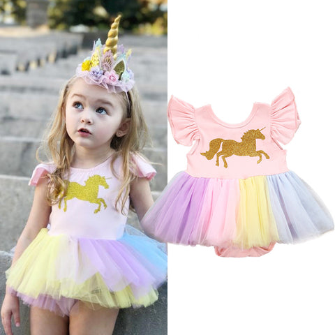 Rainbow Unicorn Tutu Dress for Girls