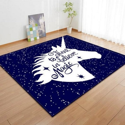 Time To Believe In Magic Unicorn Area Rug Floor Mat