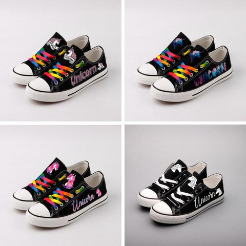 Black Classic Canvas Low Top Unicorn Sneakers