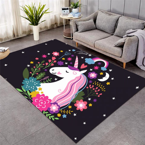 Unicorns Are Real Floral Area Rug Floor Mat