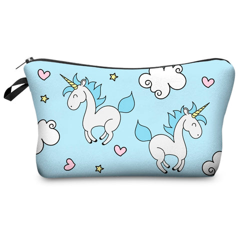 Blue Floating Unicorn Cosmetic Bag