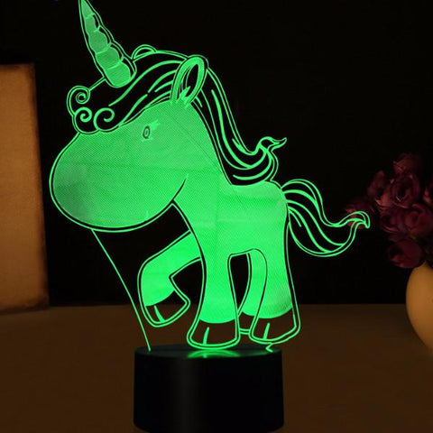 Blue Unicorn 3D LED Night Light-100 Unicorns