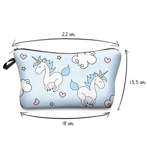 Size of Blue Unicorn Cosmetic Bag