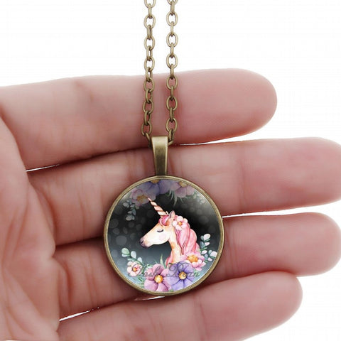 Vintage Bronze Necklace w/ Glass Cabochon Unicorn Pendant